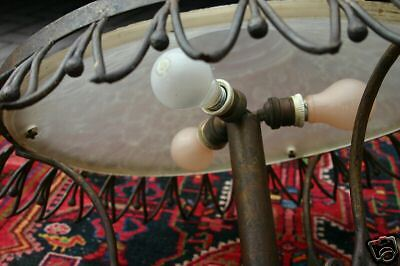 A Large Art Nouveau Wrought Iron/Glass Ceiling Lamp 12