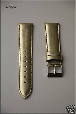 20mm METALLIC GOLD Interchangeable Watch Band,Strap Genuine Leather Small Wrist
