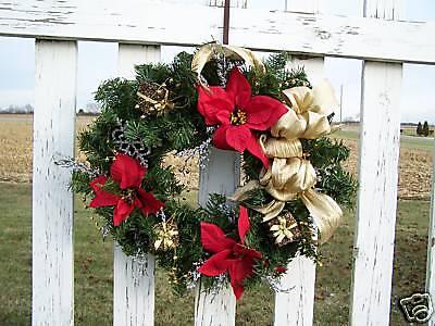 Artificial Christmas Wreath Silk Red Poinsettias Glittery Trim Gold