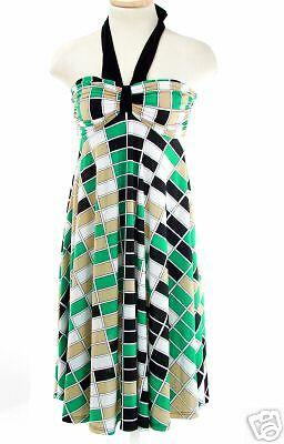 Fab Fun & Funky Halter Top Strapless Dress   Large