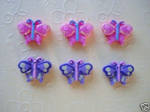 20 Mini Pink & Purple Butterfly Flatback Resin Button/accent/bow/Scrapbooking B5