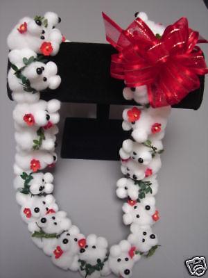 Hawaiian White Teddy Bear Pom Pom Lei Graduation Gift Maile Red Flower (Maile Lei)
